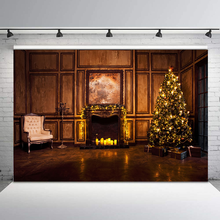 Christmas Tree Backdrop Retro Vintage Fireplace Photography Background Family Gathering Photographic Backdrops For Photo Studio sjoloon christmas photography backdrops christmas tree photographic background snow photo backdrop fond photo studio vinyl props
