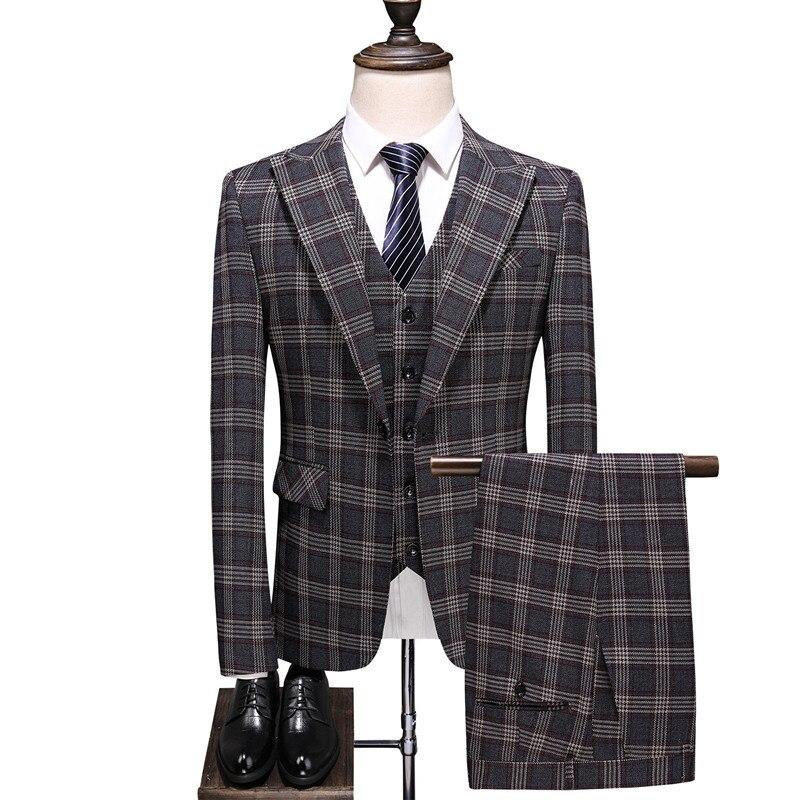 Men's Suit Gray Check Fashion Men's Suit 3 Piece Set (jacket + Pants + Vest) Men's Business Casual Suit Wedding Banquet Dress