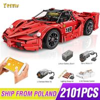 MOC RC Racers Ferrared Enzo Super Car 1:8 Scale Sports Car Enzo set fit Fxx F40 Technic Legoing Building Blocks Bricks Toys gift