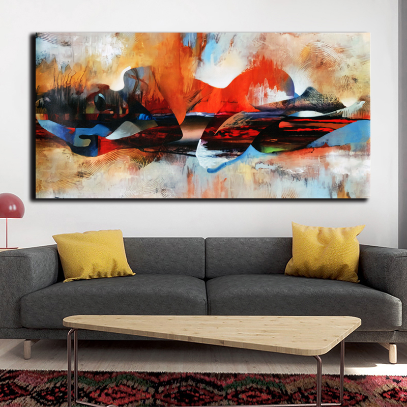 OUCAG Abstract Watercolor Buddha Canvas Painting Modern Printed Lord Figure Wall Art Pictures Poster Decoration For Living Room