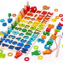 3D drewniane zabawki Montessori magnetyczne wędkowanie cyfrowy kształt pasujące klocki edukacyjne zabawki dla dzieci zajęty deska matematyka przedszkole