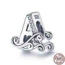 PANDACH 100% Real 925 Sterling Silver Letter Alphabet A-Z Charm Name Bead Fit Original Pandora Bracelet Pendant Jewelry CMC030