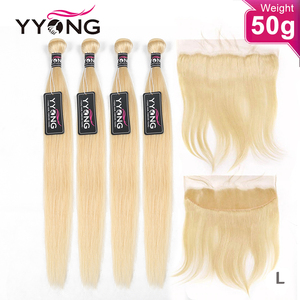 YYong 50g 613 Blond Bundles With 13x4 Frontal 4/5 Bundles 613 Honey Blonde Brazilian Straight Lace Frontal Closure With Bundles