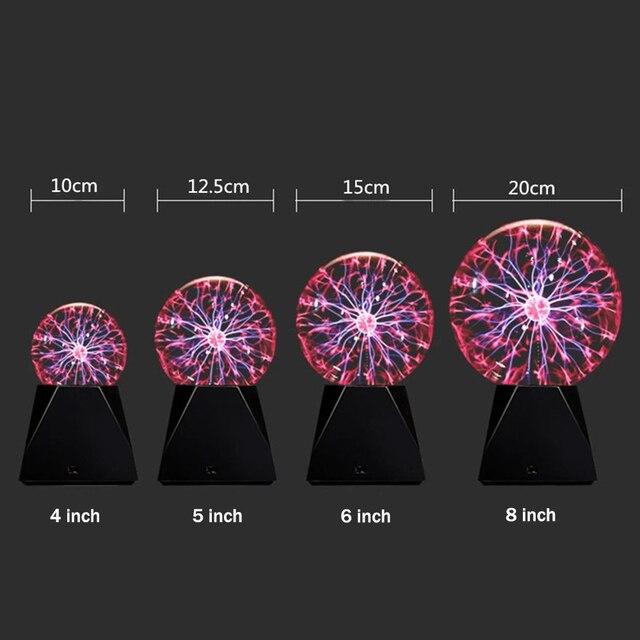 LED Magic Plasma Ball Light USB/Battery Powered Novelty Glass Ball Night Lamp 3 4 5 6 8 inch EU Plug Sphere Desk Light