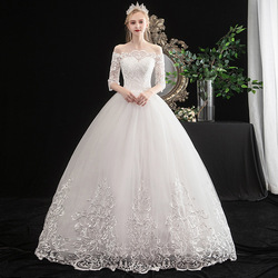 Gryffon Wedding Dress Luxury Half Sleeve Boat Neck Ball Gown Off The Shoulder Princess Luxury Lace Wedding Dresses Plus Szie