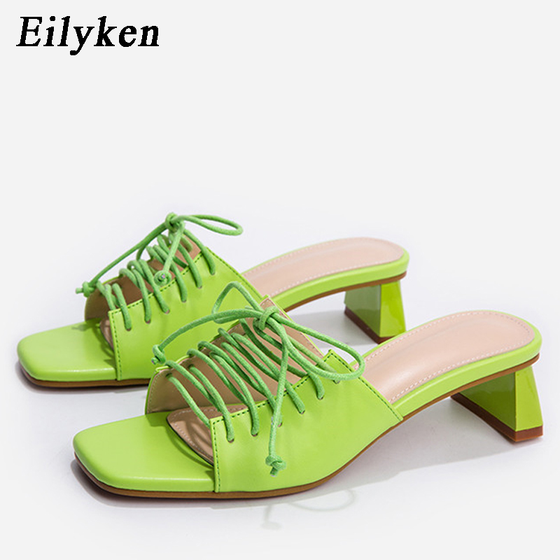 Eilyken 2020 nuevas zapatillas de mujer deslizantes de Punta abierta zapatos de tacón alto bajo sandalias de ocio femenino zapatos de casa al aire libre con cordones
