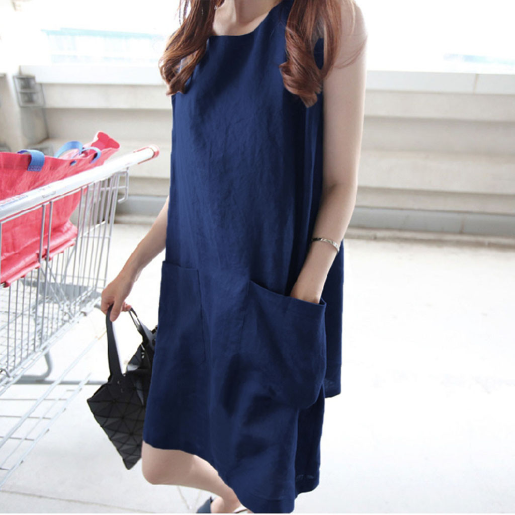 Summer Dress Sleeveless O-neck Sleeveless Solid Loose Pockets Cotton Linen Casual Dress Elegant *