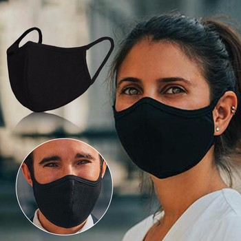 Adult Cotton Mask Black Activated carbon Windproof Four Seasons Mascarar Breathable Washable Reusable Face Cover Mask Маски image