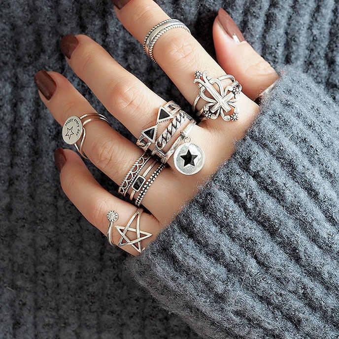 גיאומטרי רב-סגנון בציר תאילנדי כסף אצבע טבעת לגברים נשים סטרלינג כסף רטרו תכשיטי Dropshipping S-R414