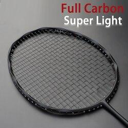Raquetes de badminton de fibra de carbono 4u tipo ofensivo profissional raquetes com sacos cordas 22-30lbs velocidade esportes