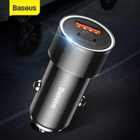 Baseus 36 w carregador rápido adaptador de energia usb carregador de carro adaptador de carregamento rápido soquete tipo c pd carregador de telefone do carro para ip para huawe