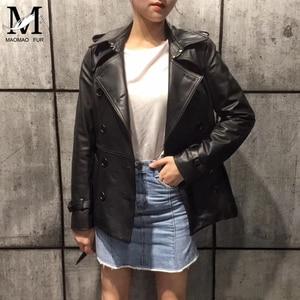 Image 3 - Spring Genuine Leather Jacket Women Classical Elegant Sheepskin Leather Jacket Belt Short
