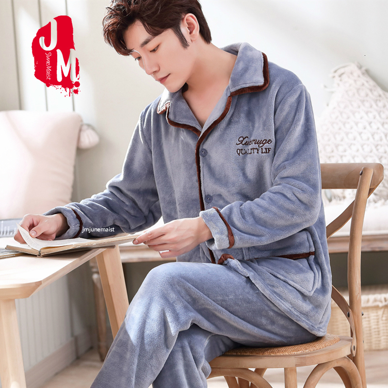 Winter Long Sleeve Pijama Flannel Pajamas Set For Male Plus Size Sleep Clothing Casual Nightie Sleepwear Warm Men Pyjamas Suit