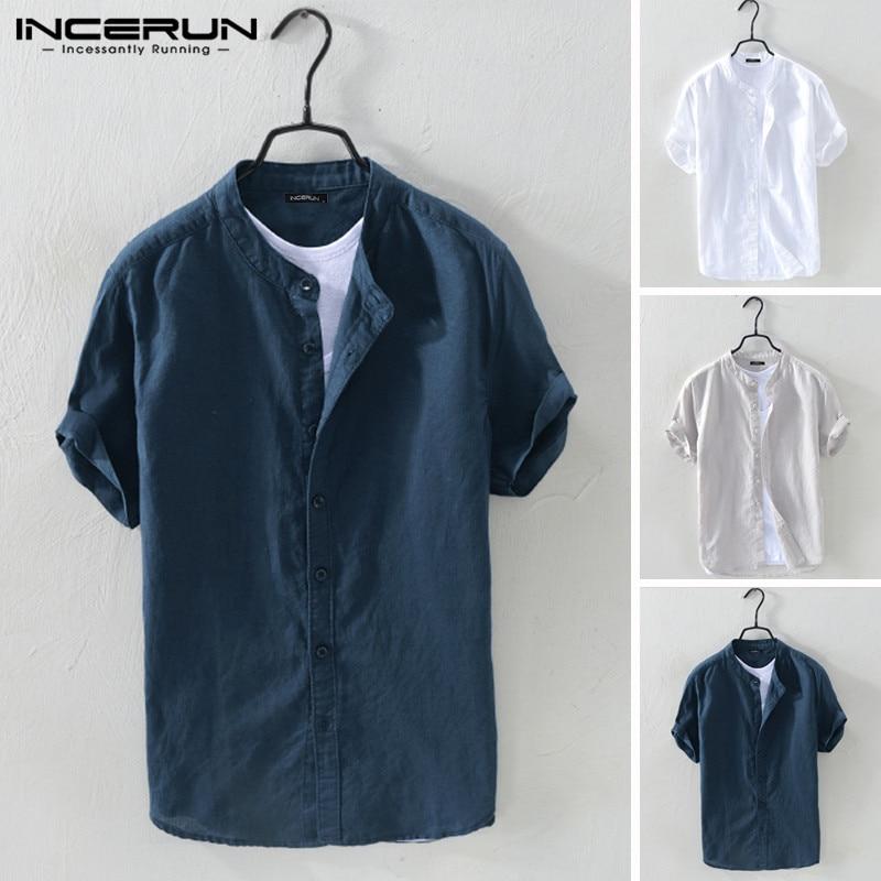 INCERUN Men Shirt Cotton Stand Collar Short Sleeve Camisa Breathable Solid Blouse Streetwear Casual Men Brand Shirts Harajuku