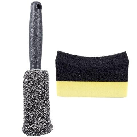 1x carro superfine fibra longa lidar com pneus escova pano limpo pneu escova cinza 10x