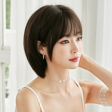 Bobo Short Straight Hair With Fringe Black Brown Non&Reflective Synthetic Wig For Girls Shopping Festival cocktail Parties WIG