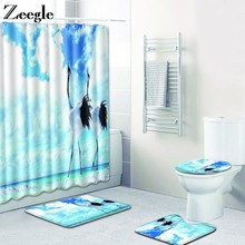 Zeegle Bath Mat Set with Shower Curtain Pedestal Rug Lid Toilet Cover Anti Slip Toilet Floor Carpet Bathroom Curtain with Hooks(China)