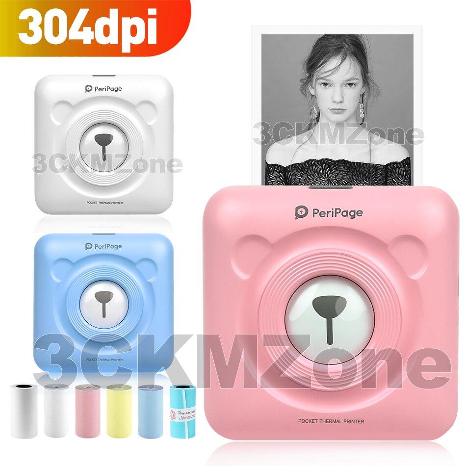 Updated Peripage Photo Printer 304dpi Mini Bluetooth Wireless Pocket Printer Thermal Paper Printer Handheld 58mm Thermal Printer