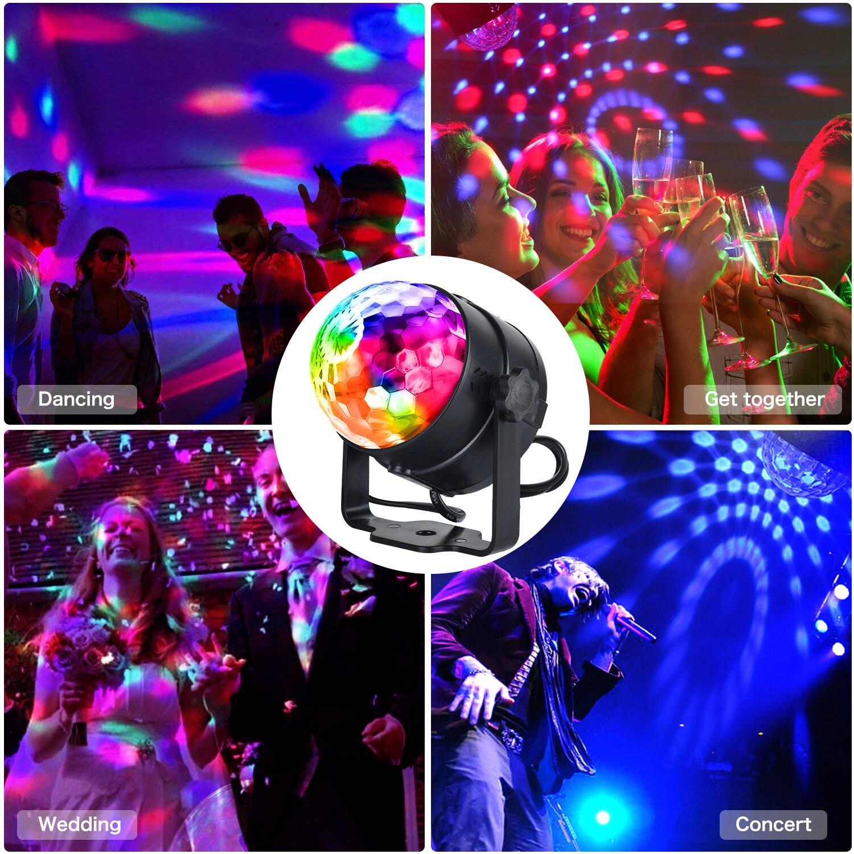 Sound Activated Disco Lights Rotating Ball Lights 3W RGB LED Stage Lights For Christmas Home KTV Xmas Wedding Show Pub