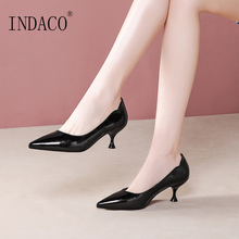 Women Green Pumps High Heel Pointed Toe Slip on 5.5cm Leather Heel Shoes for Woman genuine leather comfort square heel pointed toe woman pumps fashion lace up dress high heel shoes woman black green