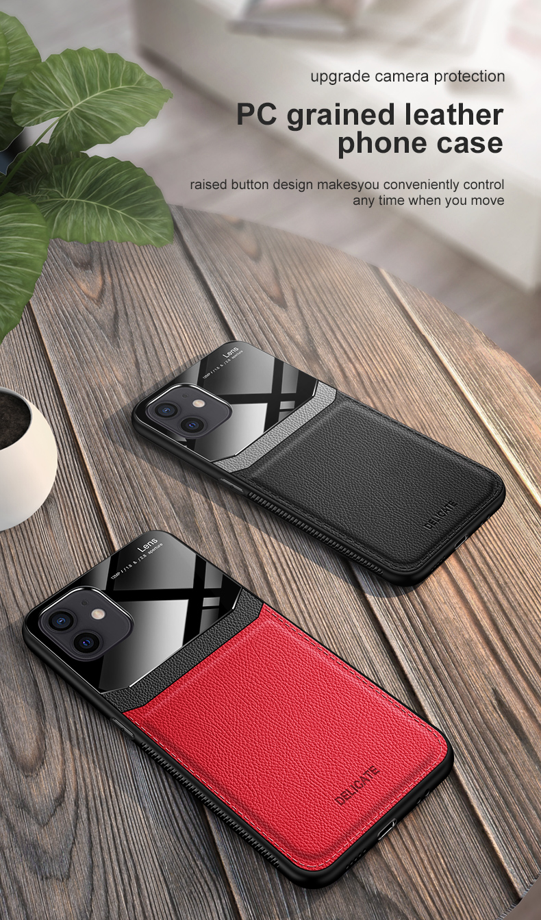 PU Leather Glass Back Cover Shockproof Case for iPhone 12 Pro Max