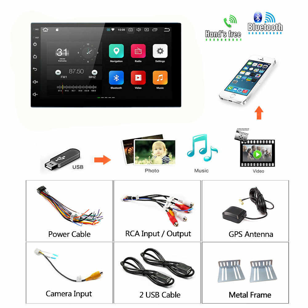 "2Din Android Multimedia Player Mobil GPS Navigasi 2 DIN HD Auto Radio Wifi USB FM 2 DIN 7 ""Car Audio radio Stereo Monitor Cadangan"