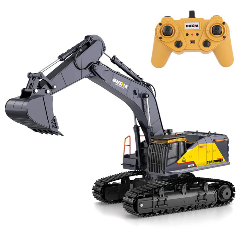 2020 New Item HuiNa 1:14 1592 RC Alloy Excavator 22CH Big Rc Trucks Simulation Excavator Remote Control Vehicle Toys for Boys