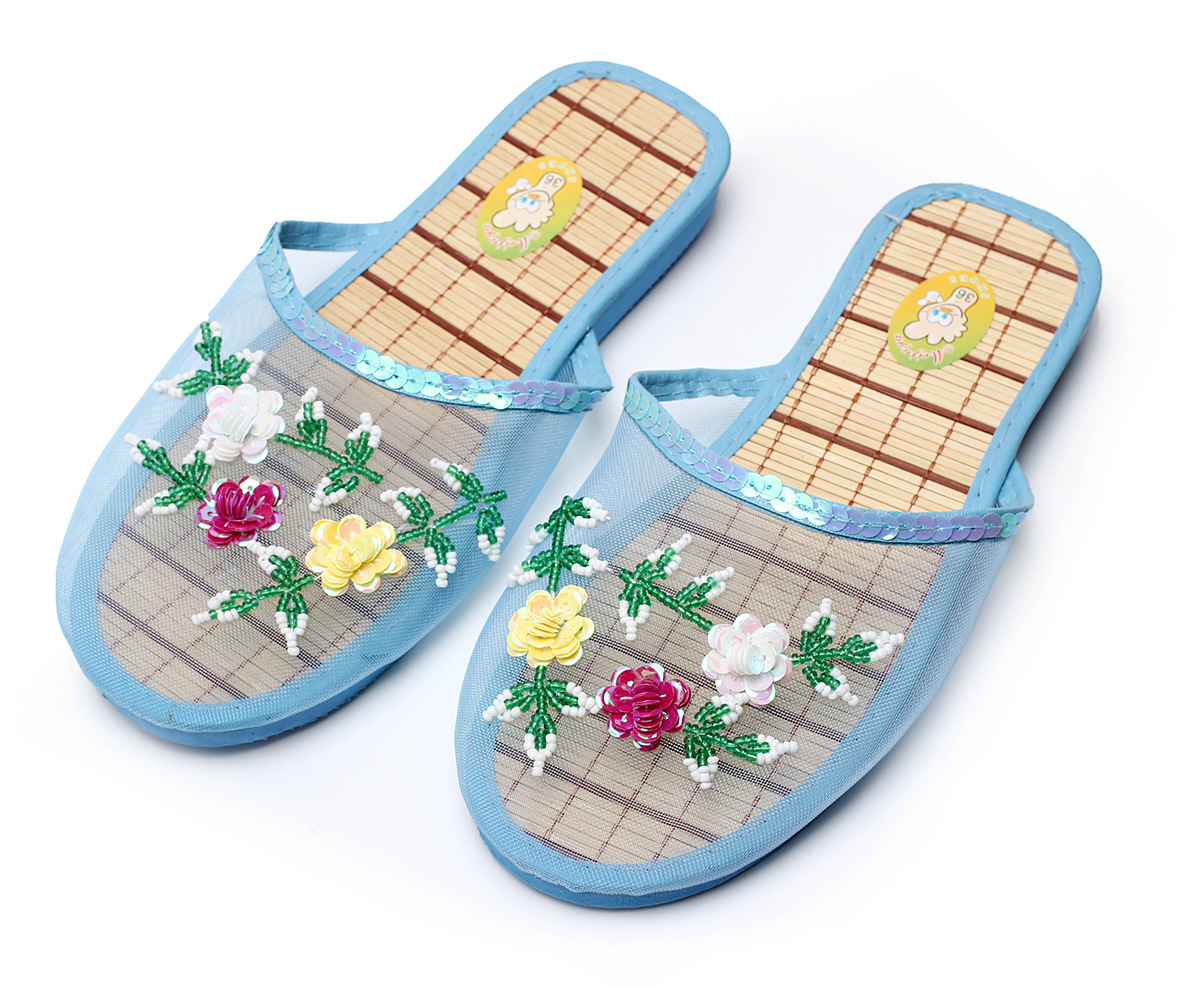 Women Breathable Indoor Slippers Sequin Flower Home Flat Shoes Ladies Summer Hollow Out Mesh Beach Slippers Casual Sandals New