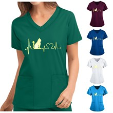 Nurse Uniform Blouse V-neck Cat Print Tops Short Sleeve Female Workwear Uniform T-shirts Casual Breathable Nursing Uniform