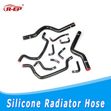 R-EP Radiator Silicone Hose Kit Fits for 4G63 Mitsubishi Eclipse 2g 1g GSX DSM 1995-1999 Coolant Hoses 11PCS Black SRH-1002
