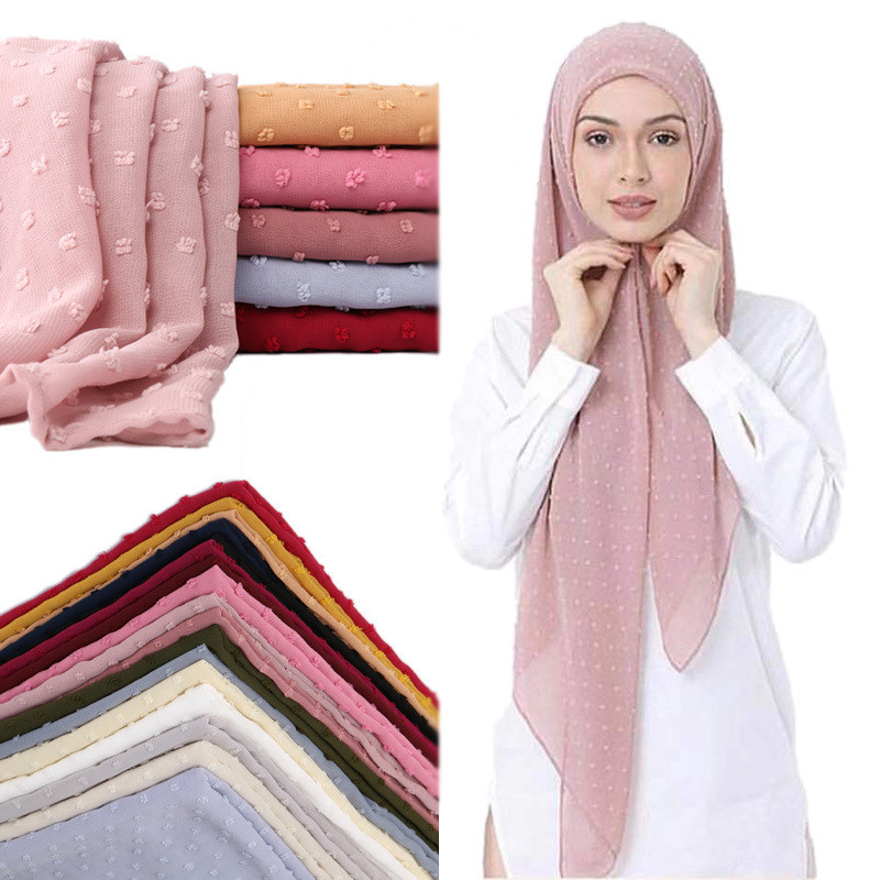 2020 NEW Flocked Bubble Chiffon Scarf Hijabs For Muslim Women Soild Color Breathable Islamic Headscarf Arab Head Scarves