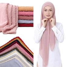 2020 NEW Flocked bubble chiffon scarf hijabs for muslim women soild color breathable islamic headscarf arab head scarves