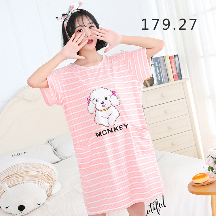2018 Short Sleeve Nightgown Women's Cartoon Stripes Qmilch Multi--Loose-Fit Casual Tracksuit Skirt