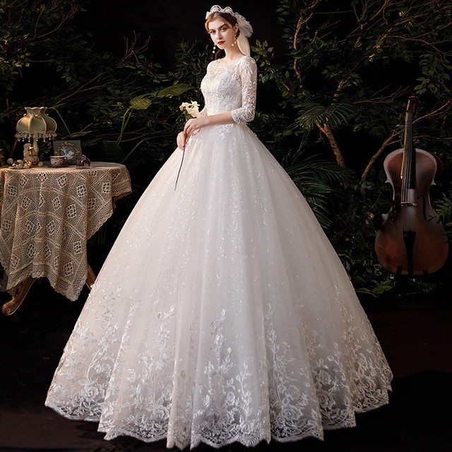 New Sweetheart Three Quarter Elegant Wedding Dress With Sleeve Long Lace Embroidery Train Bridal Gown Plus Size Vestido De Noiva 4