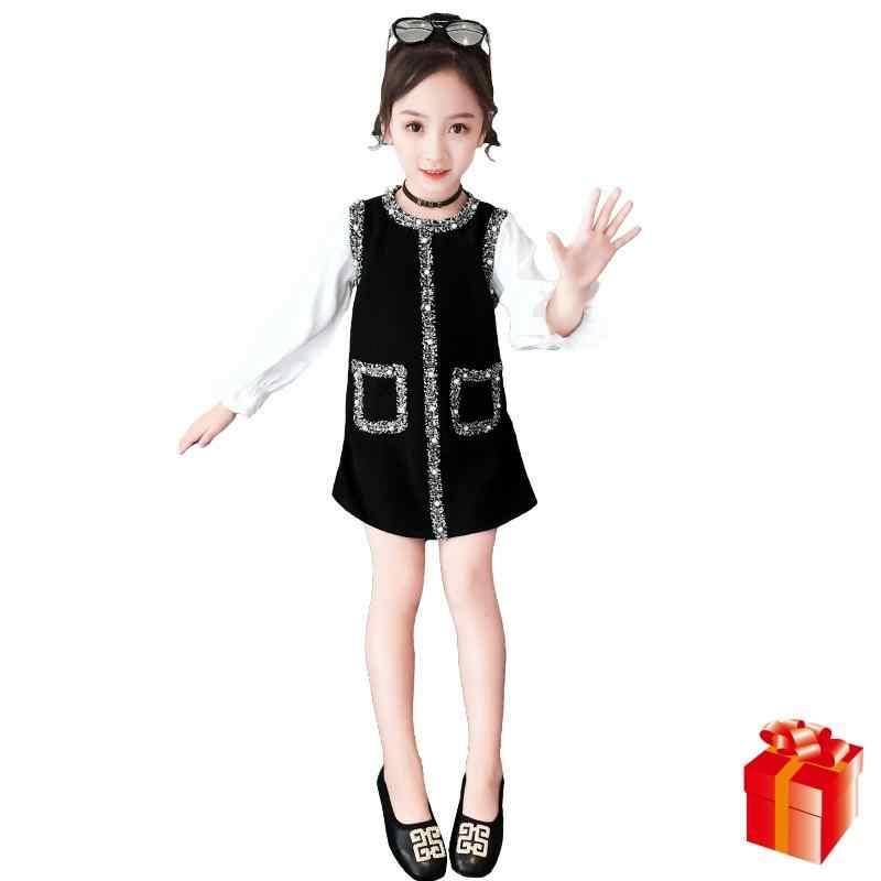 ילדה ארוך שרוול שמלת 2019 אביב ובסתיו חדש קטן ניחוח יפה שמלה יפה תינוקת שמלת חג המולד בגדי 4-12Y