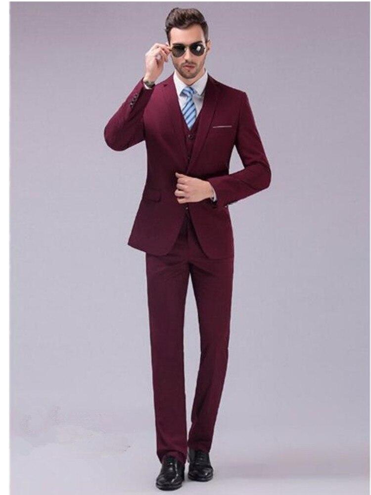 The Most Handsome Men Leisure Suit The Fashion Style Of Pure Color Vigor Suit Elegant High Quality Suit (jacket + Pants + Vest)