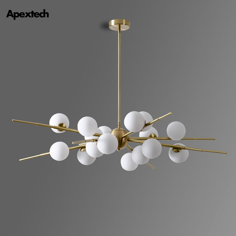 Glass Ball LED Chandelier Modern Luxury Living Dining Room Hanging Lights Indoor Ceiling Mounted Luminaire Pendant Lamp
