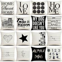 Letter Love Home Cushion Covers Cotton Linen Black White Pillow Cover Sofa Bed Nordic Decorative Pillow Case Almofadas Party