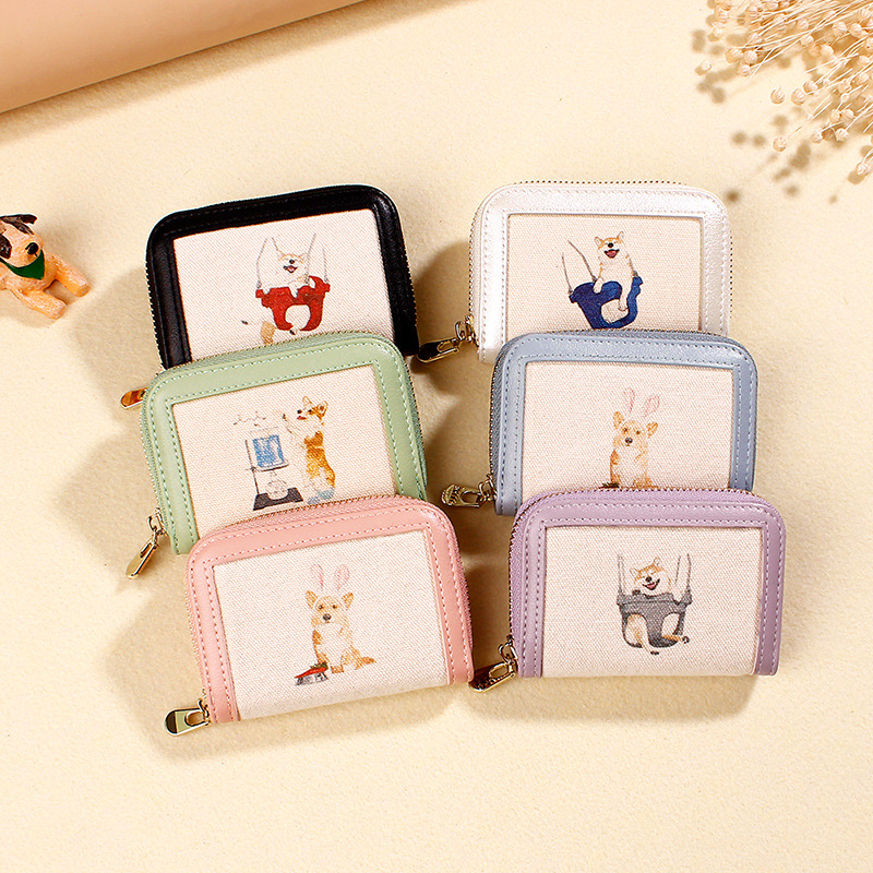 Yue Qian Kay Manufacturers Direct Selling New Style Card Bit More Organ Wallet Joint Canvas Zipper Short Women's Purse