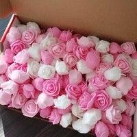 100 piezas de flores artificiales de espuma de 3cm Mini rosas para la decoración de la boda fiesta DIY hecho a mano oso de peluche artesanías hogar suministros de jardín 8