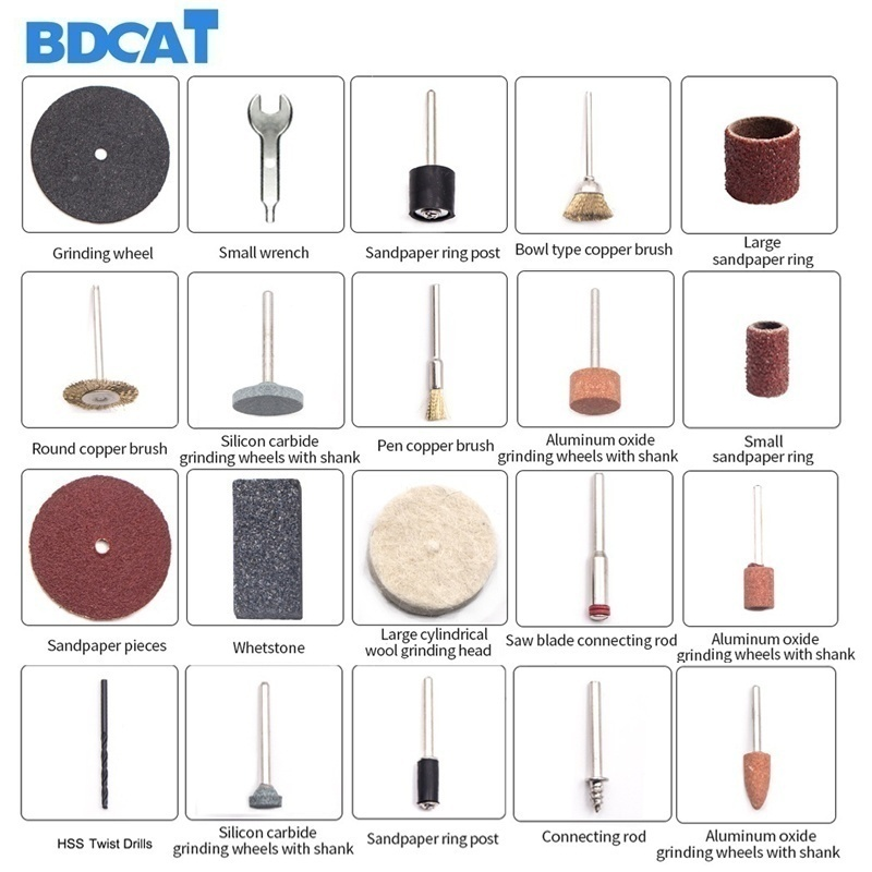 Image 5 - BDCAT 180W Electric Grinder Tool Mini Drill Polishing Variable Speed 207pcs Rotary Tool Kits with Power Tools Dremel AccessoriesElectric Drills   -