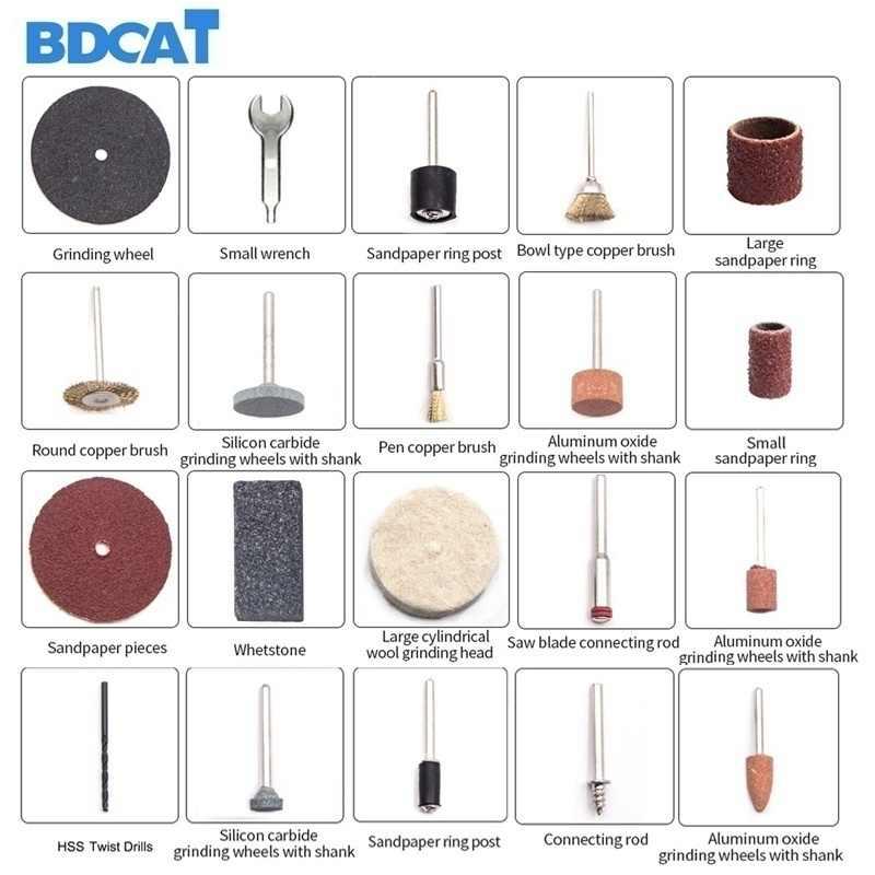 BDCAT 180W Smerigliatrice Elettrica Strumento di Mini Trapano Lucidatura A Velocità Variabile 207pcs Rotary Tool Kit con Utensili elettrici Dremel Accessori