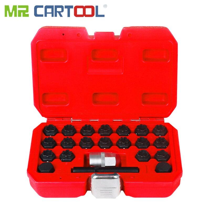 MR CARTOOL 22Pcs Car Locking Wheel Nut Removal Tool Set For Audi Locking Keys TypeA -X Anti-Theft Screw Sleeve Wheel Lock Tool