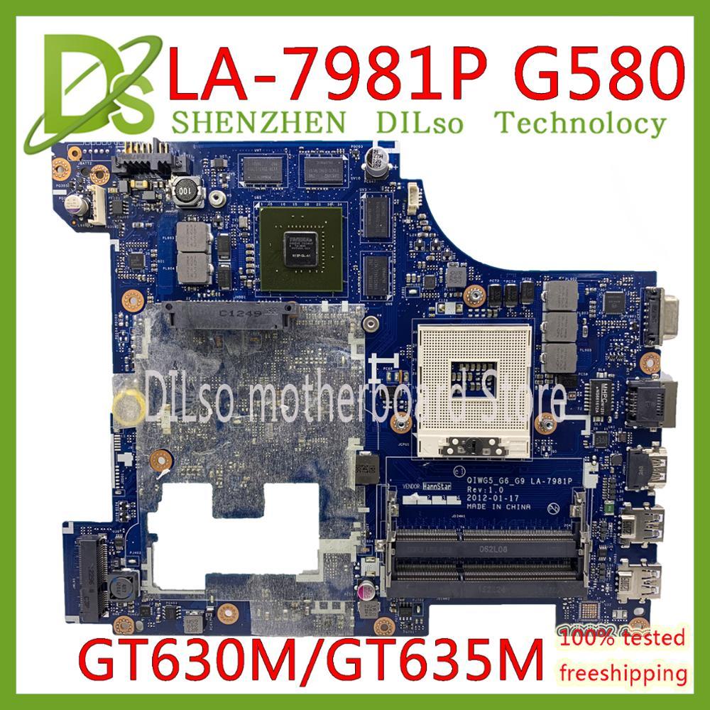 KEFU LA-7981P материнская плата для Lenovo G580 материнская плата для ноутбука QIWG5_G6_G9 LA-7981P REV: 1,0 PGA989 HM76 DDR3 GT630M/GT635M тест