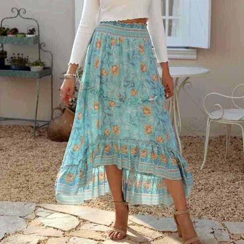 silk-cotton maxi skirt  in Boho style . Light blue