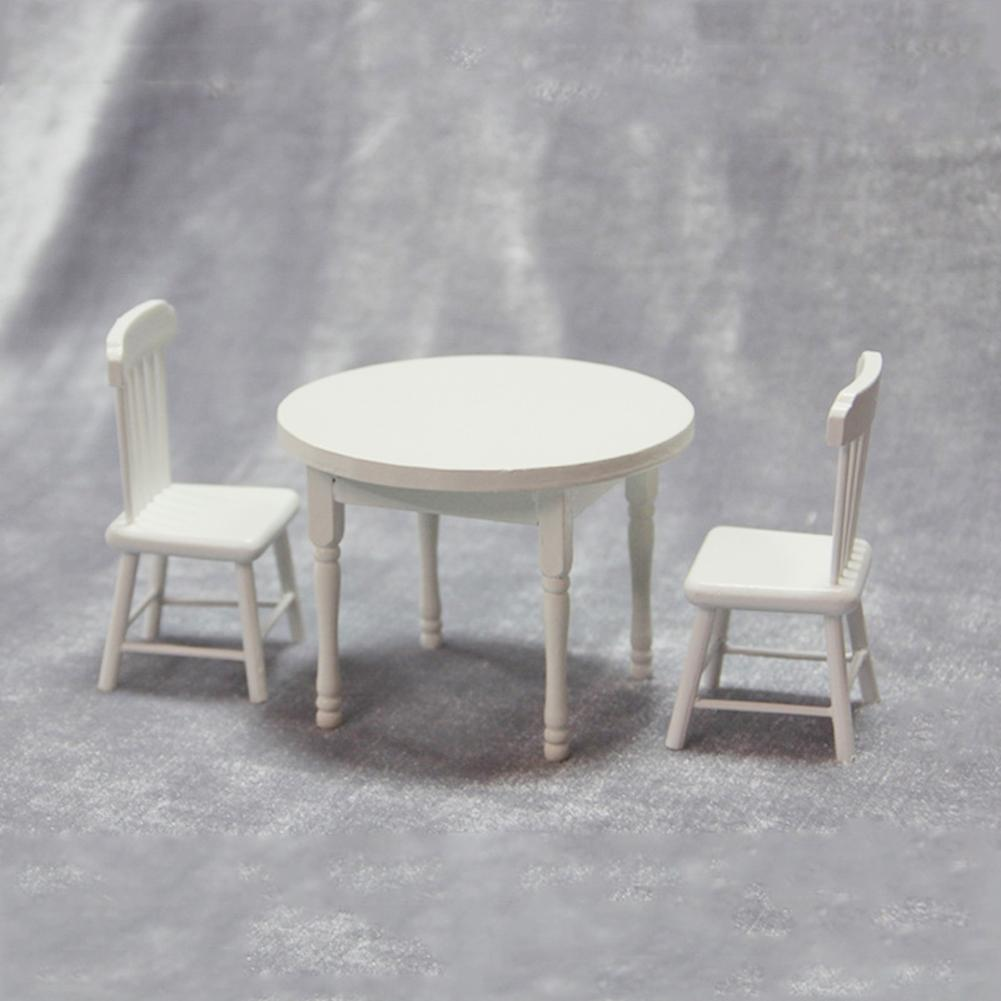 1/12 Miniature Doll House Wooden Dining Table Chairs Modern Style Kitchen Furniture Doll House Decor Kids Toy