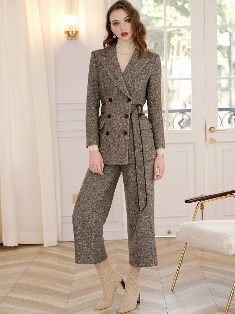 Vintage Wool Pants Suit Woman Elegant HIgh Quality Fashion Chic Double Breasted Blazer Coat Wide Leg Pants Pantsuit 2 Piece Set 42