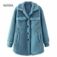 Wixra Frauen Einreiher Jacken Dame Taschen Weiche Warme Lamm Wolle Drehen Unten Kragen Street Style Lose Mantel Herbst Winter
