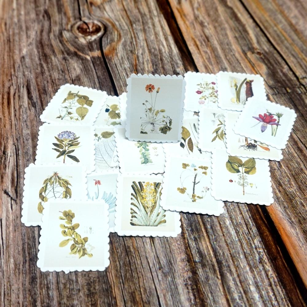 22PCS Vintage Green Plants Stickers DIY Decorative Scrapbooking Diary Albums Supplies Stickers Students Gift Waterproof Stickers