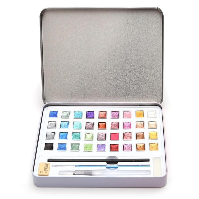 Блестящие акварельные краски 12, 36, 48, металлический однотонный чехол для художественной живописи, для студентов, акварельные технологии